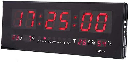 ROBTLE 12 24 Hour Large Digital Clock, LED Alarm Calendar Clock Jumbo Display Snooze Wall Temperature, 14.2 x 5.1 x 1.4inch