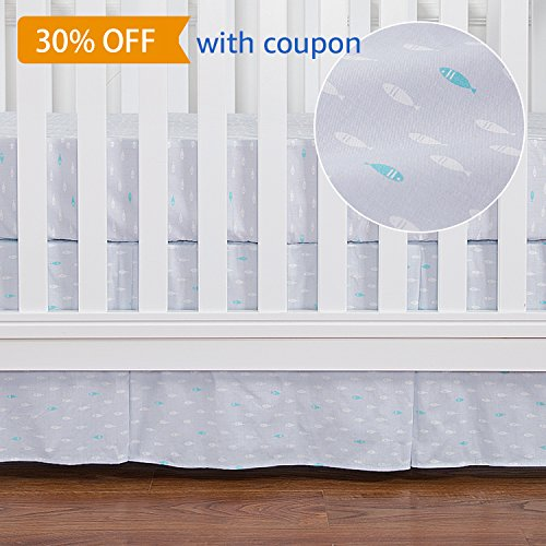 TILLYOU Pleated Crib Bed Skirt with Printed Pattern, 100% Natural Cotton, Nursery Crib Bedding for Baby Boys or Girls, 14