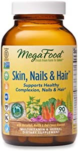 MegaFood, Skin, Nails & Hair, Supports Healthy Complexion, Nails & Hair, Multivitamin & Herbal Dietary Supplement, Gluten Free, Vegan, 90 tablets (30 servings)
