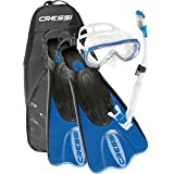 Cressi PALAU SAF, Adult Snorkeling Set, Includes (Palau Short Open Heel Fins, Onda Mask, Supernova Dry Snorkel, and Bag) - Cressi: 100% Made in Italy Since 1946