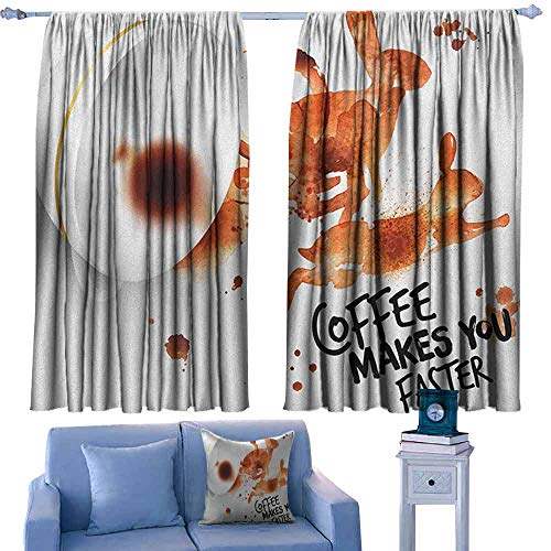 ParadiseDecor Coffee Art Kitchen Curtains Drink and Be Inspired Coffee Makes You Faster Quote Espresso Stain,Patterned Drape for Kids Bedroom,W55 x L45 Inch