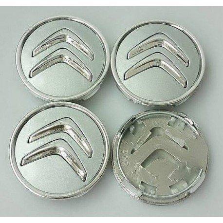 Juego de 4 tapacubos para Citroën, de 60 mm, tapas para llantas para C2, C4, C5, C6, de color plata con el logo cromado: Amazon.es: Coche y moto