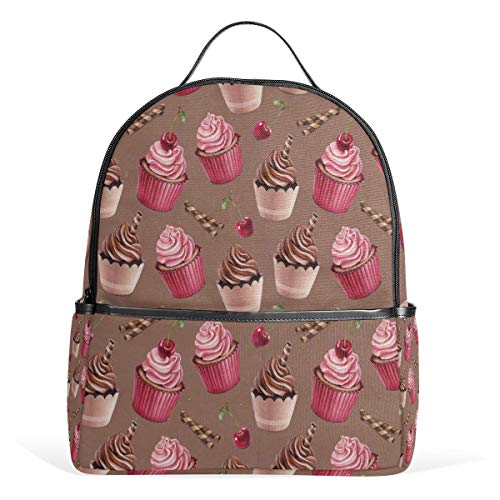 ZXL Cherry Chocolate Cupcakes Backpack Waterproof Shoulder Book Bag Gym Backpack, Cookie Dessert Pink Bag Casual Day Pack Outdoor Travel Sports Bag for Women Men