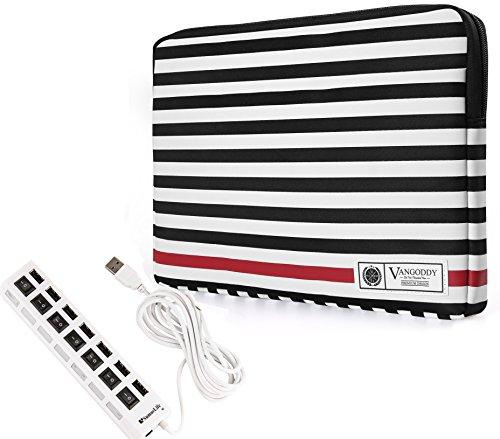 Dell Chromebook Inspiron Latitude 11 Inch 12 Inch Carrying Slim Travel Sleeve Case + 7 Port USB Hub (Hub Polished)