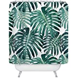 Colour Kingdom Tropical Broadleaf Plant Waterproof Bathroom Shower Curtain with 12 Bath Curtain Rings