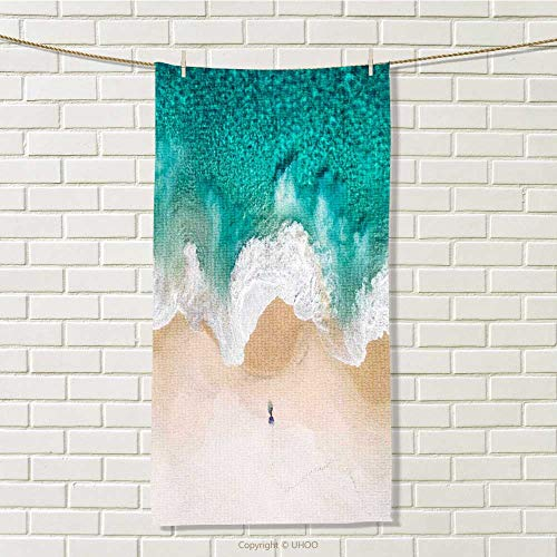 - DESPKON-HOME Hair Drying Towel Albany Gold Beach Sea Wave Microfiber Travel Towel W 8