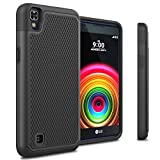 LG X Power Rugged Impact Heavy Duty Dual Layer Shock Proof Case Cover Skin - Black