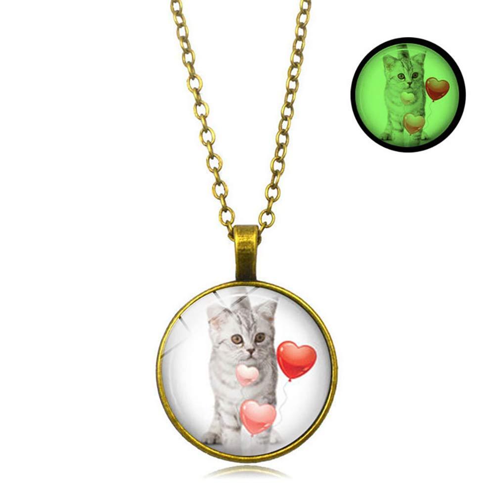 Wind-Torlove-Katzen-Anh/änger leuchtend fluoreszierende Halskette leuchtet im Dunkeln Schmuck f/ür Damen M/ädchen gold