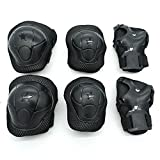 Cooplay 6pcs Small Size Black Elbow Wrist Protective Knee Pads Protective Gear Guard Adjustable for Kids Boy Children Skateboard Bicycle Ice Skate Roller Skating Cycling Mini Riding Outdoor Sports