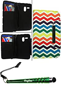 FoxyCase(TM) FREE stylus AND Motorola Moto G (CDMA) Wallet Pouch Rainbow Chevron Case Cover Protector Best beautiful pocketbook, wallet, pouch