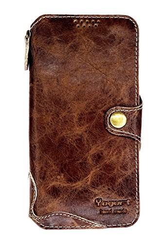Yogurt for Samsung Galaxy S9 (5.8 Inch) Genuine Leather Wallet Cases Cover Handmade Gray