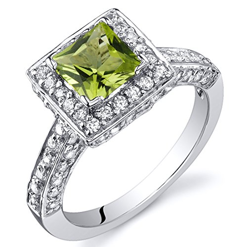 Peridot Princess Halo Ring Sterling Silver Rhodium Nickel Finish 0.75 Carats Sizes 5 to 9