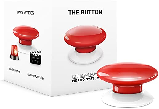 Red FIBARO The Button Z-Wave Plus Scene Controller On-Off Trigger FGPB-101-3