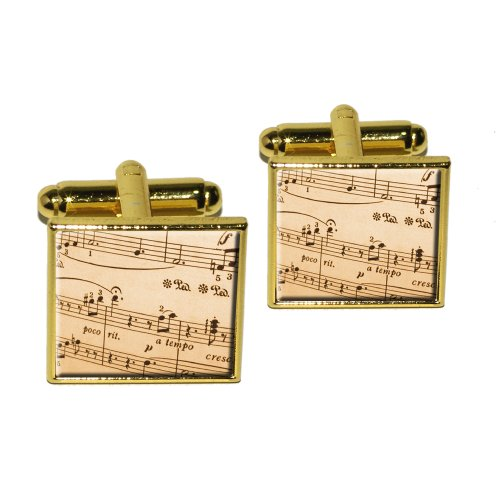 Music Musical Sheet Notes Vintage - Treble Clef Square Cufflink Set - Gold (Vintage Cufflinks Square)