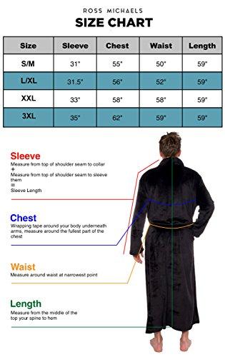 a957f08891 Ross Michaels Mens Hooded Long Robe - Full Length Big   Tall Bathrobe  (Black