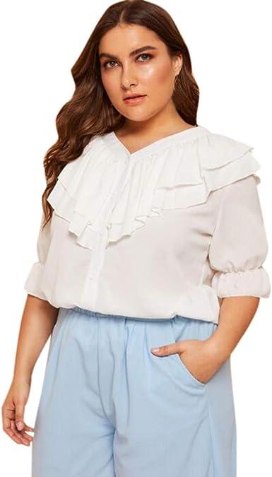 MOTOCO Mujer Camisa Extragrande Top con Cuello en v Color ...
