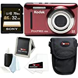 Kodak PIXPRO Friendly Zoom FZ53 (Red) w/ Sony 32GB SD Card & Case Bundle