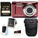 Kodak PIXPRO Friendly Zoom FZ53 (Red) w/Sony 32GB SD Card & Case Bundle