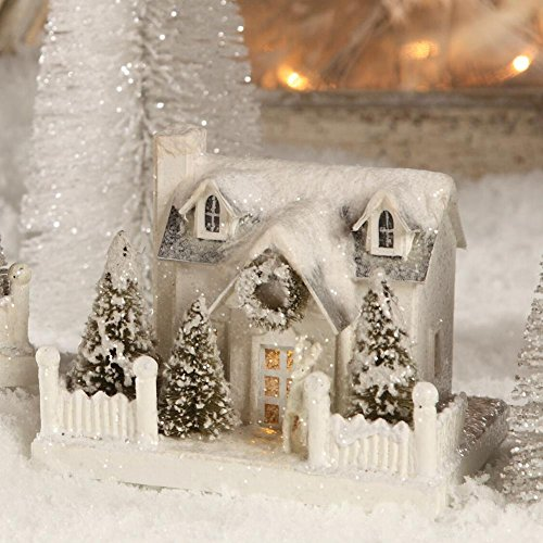 """Bethany Lowe 6"""" White Christmas Village Mantel House, Cape Cod and Deer"""