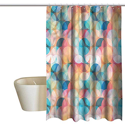 Dena Circles - Denruny Shower Curtains Heavy Weight Geometric,Pastel Mosaic Circles,W108 x L72,Shower Curtain for Shower stall