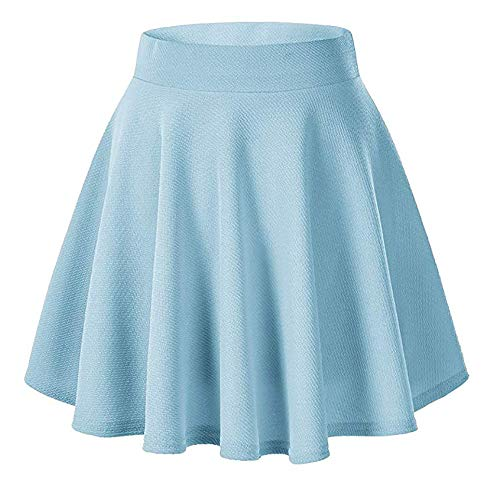 - Moxeay Women's Basic A Line Pleated Circle Stretchy Flared Skater Skirt (Small, Light Blue)