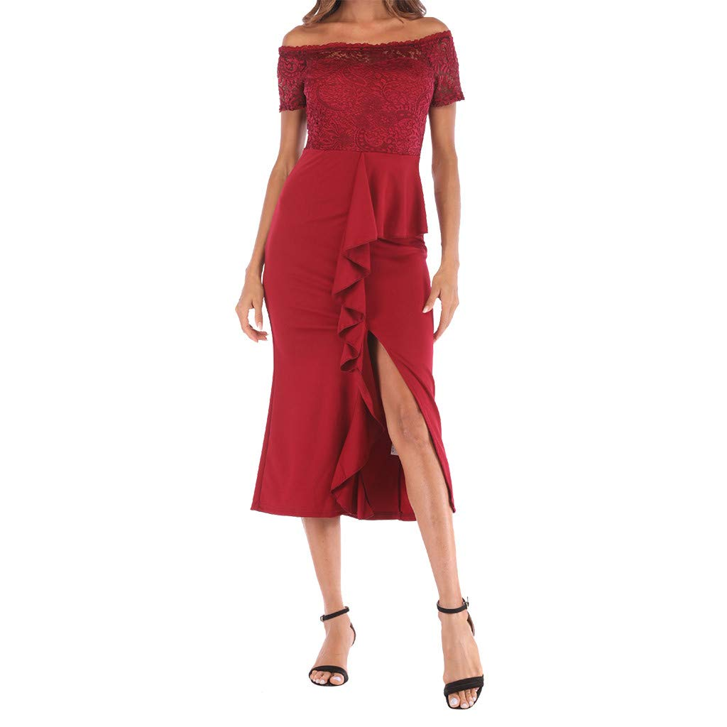 One Shoulder Lace,Youngh Fashion Women One Shoulder Lace Splice Off Shouder Casual Long Dress Red