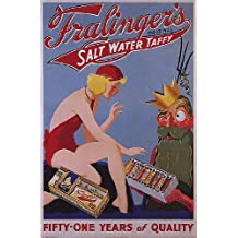 """FRALINGER'S SALT WATER TAFFY GIRL IN SWIMWEAR SERVED BY POSEIDON GOD OF THE SEA 16"""" X 24"""" IMAGE SIZE VINTAGE POSTER REPRO"""