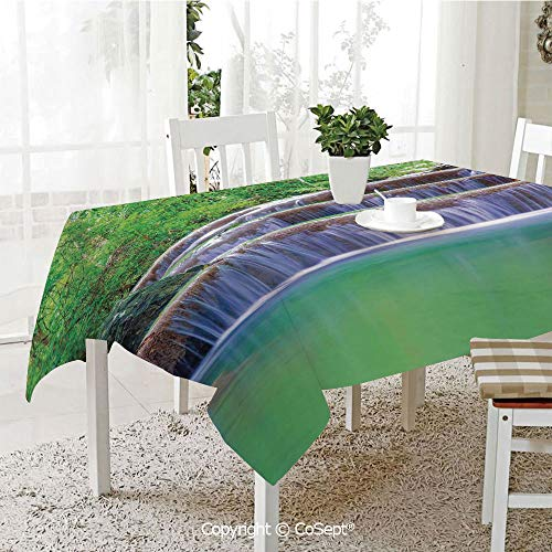 Wrinkle Free and Stain Resistant Tablecloth,Fairy Step Cascade Waterfalls Pours Into Crystal Clear Lake EXotic Tropical,Spill Proof,Machine Washable,Tablecloth for Use(60.23