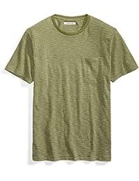 Men's Short-Sleeve Crewneck Striped Slub Pocket T-Shirt