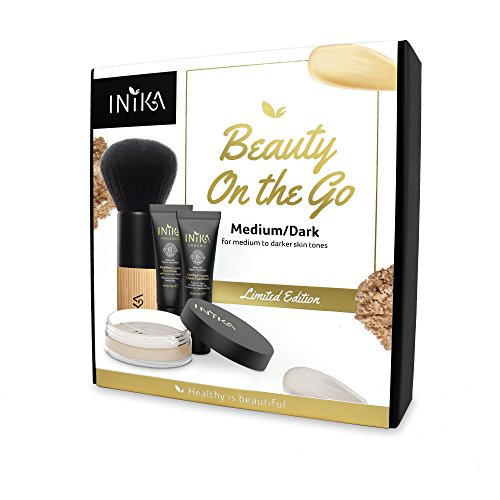 Inika Beauty On The Go Kit, Holiday Gift Sets, Pure Primer (4ml), Certified Organic Liquid Foundation (4ml), Loose Mineral Powder Foundation (3g), Bamboo Kabuki Brush, Vegan (Medium/Dark)