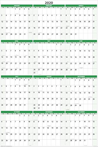 (Earth Green 2020 Vertical Dry-erasable Wall Calendar 36 tall X 24 wide. Best in its class - Non ghosting! GR-NNY)