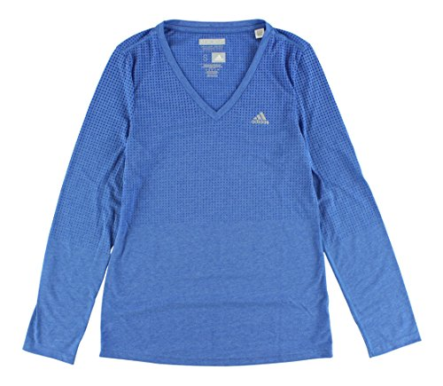 adidas Women's CLIMACOOL? Aeroknit Long Sleeve Tee Bold Blue Heather/Frozen Blue T-Shirt SM