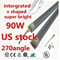 25-Pack,LEDs Tube Light, 8FT 90W Double Side V Shape Integrated Bulb Lamp, Works without T8 Ballast, Plug and Play, Clear/Milk Cover Lens,Cold White 6000K 5000k 4000k,US SHIP
