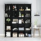 Tespo Metal Wire Storage Cubes, Modular Shelving Grids, DIY Closet Organization System, Bookcase, Cabinet (20 Cubes Black)