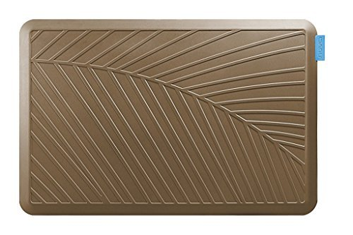 NUVA Anti-fatigue Mats >99.9% Antimicrobial, Easy Clean, Various sizes & colors, Water Resistant, Non-toxic Odor, PU Antislip Strip Bottom – Keep 10 years High Resilience (Light Brown, Palm Pattern) by Nuva