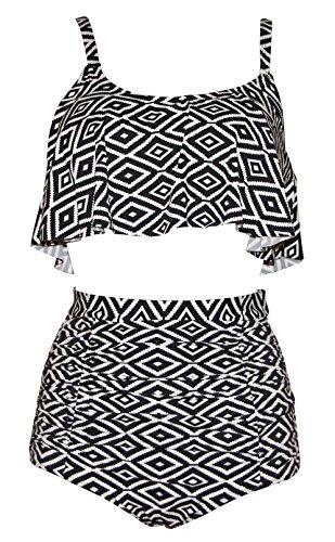 Ruffle High Waisted Soft Comfortable Tankini Floral Pin Up Bikini-KJ5476-BWT5