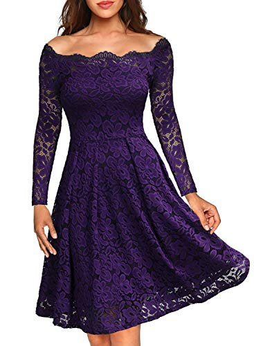 MISSMAY Women's Vintage Floral Lace Long Sleeve Boat Neck Cocktail Party Swing Dress Medium Purple