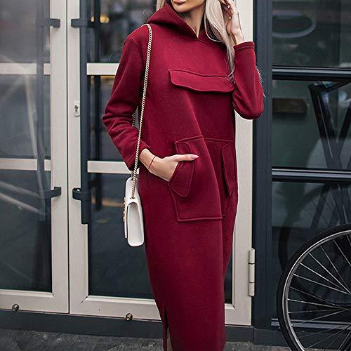 Tasca Vestito Lungo 50 moda Donna Vino Accostare Manica Con Cappuccio Donne Anni Felpa Casuale Solido SpzMUV