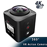 Zision 360°Panoramic VR Full View Action Camera Sport Mini Phone Remote Control Camera,4K WIFI MINI DV 220°Len 98ft Waterproof Shockproof Dustproof Camera Outdoor Travel DV 18 Aaccessory-Black