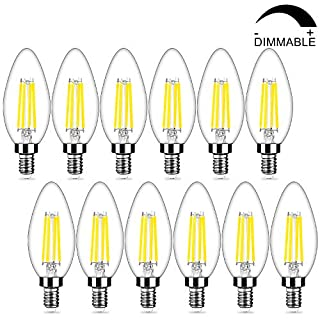12-Pack Dimmable E12 LED Candelabra Bulbs 40Watt Equivalent, 5000K Daylight White, 450Lumens, 4W B11 Vintage Chandelier Light Bulbs, LED Filament Clear Glass Candle Lamp for Ceiling Fan Home Decor