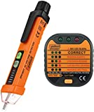 LIMITED TIME SALE Voltage Tester Pen Non-Contact with LED Flashlight - 12V to 1000V Dual Range for Broad Application (Voltage Tester & Outlet Tester)