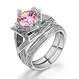 LILILEO Jewelry Luxury Double Sets Of High-Grade High-Grade Pink Zirconium Mosaic Ring For Women's Rings