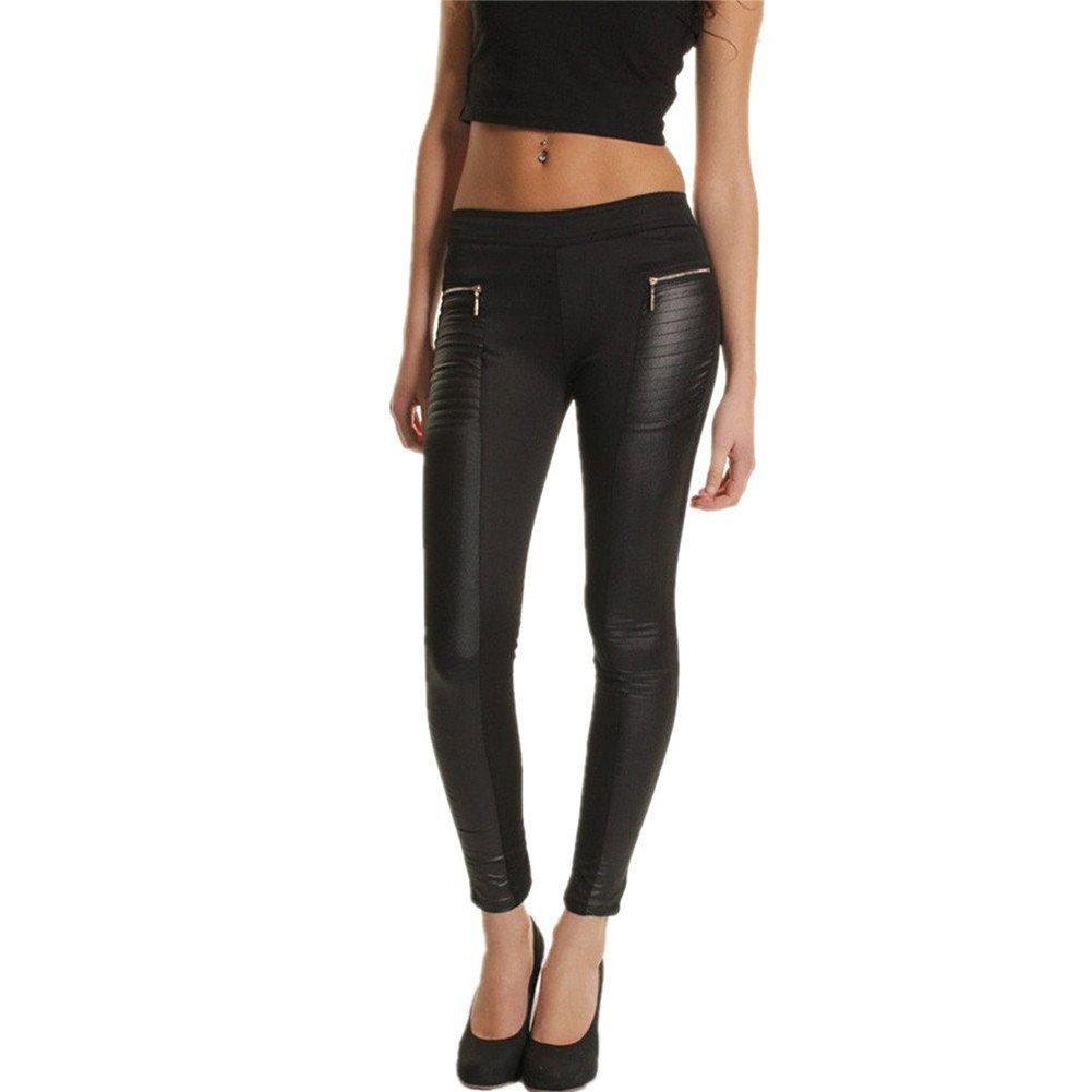 YOLLLmart Womens Faux Leather Joint Cropped Leggings Skinny Pants