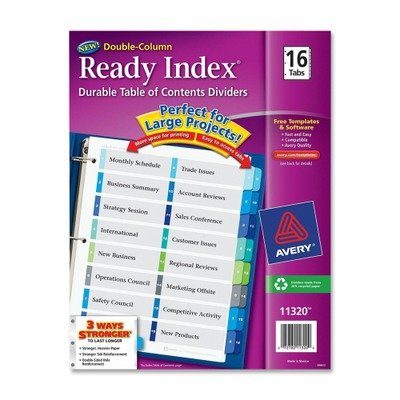 AVE11320 - Avery Ready Index Two-Column Table of Contents Divider