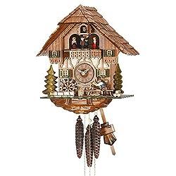 Kammerer Uhren Hekas Cuckoo Clock Black Forest house with moving Shingle-maker