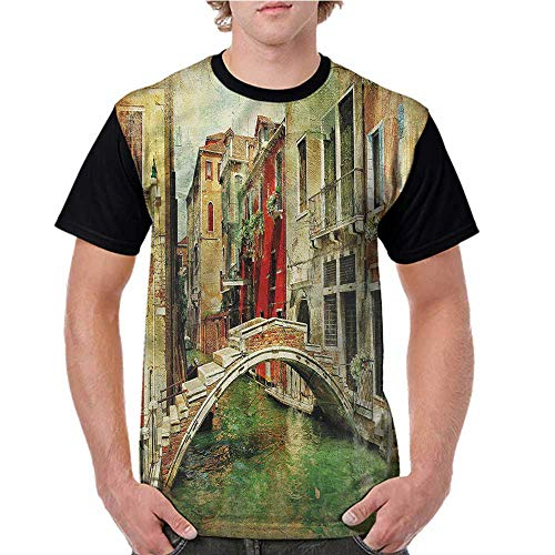 Girls Short Sleeve T-Shirts,Venice,Historic Landscape Art S-XXL for Men Super Mom