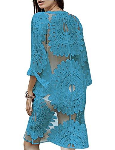 Vintage Cover - shermie Women's Floral Crochet Lace Beach Swimsuit Cover Ups Long Vintage Kimono Cardigan (Sky Blue)