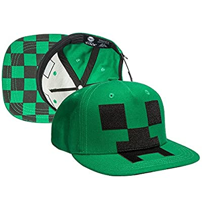 JINX Minecraft Creeper Mob Snapback Baseball Hat (Green, One Size) from JINX