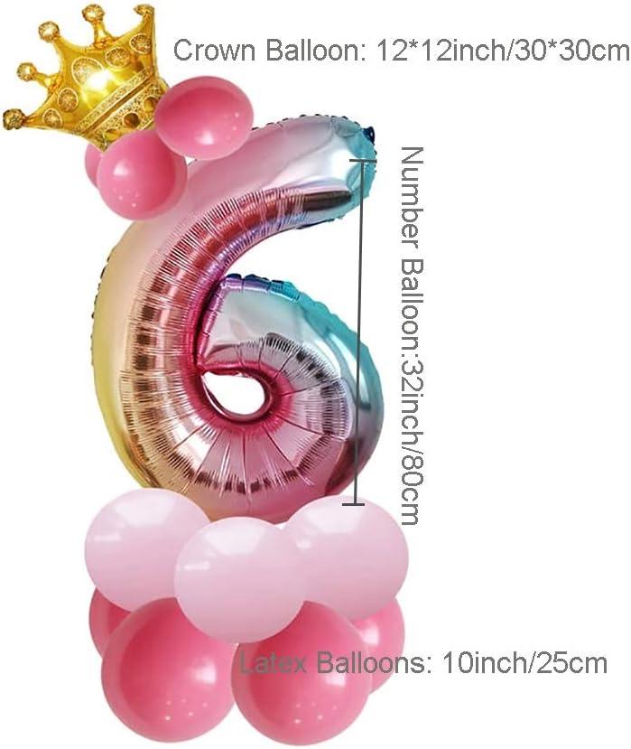 JinSu Decoracion Globos de Cumplea/ños Bodas Globos Numero 0-9 Aniversario y Eventos A/ño Nuevo Globos Foil y Globos de L/átex para Cumplea/ños