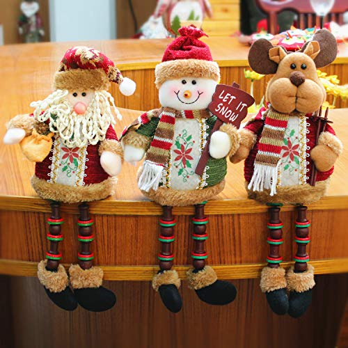 SEEHOO Christmas Decoration Sitting Plush Toy Santa Clause Snowman Reindeer Doll Party Xmas Tree Ornaments Shelf Sitter Gifts, 3 PCS ()